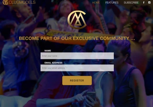 screenshot van clubmodels website