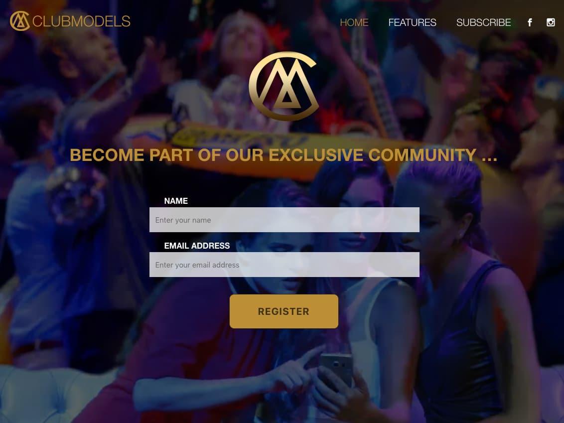 screenshot van clubmodels website