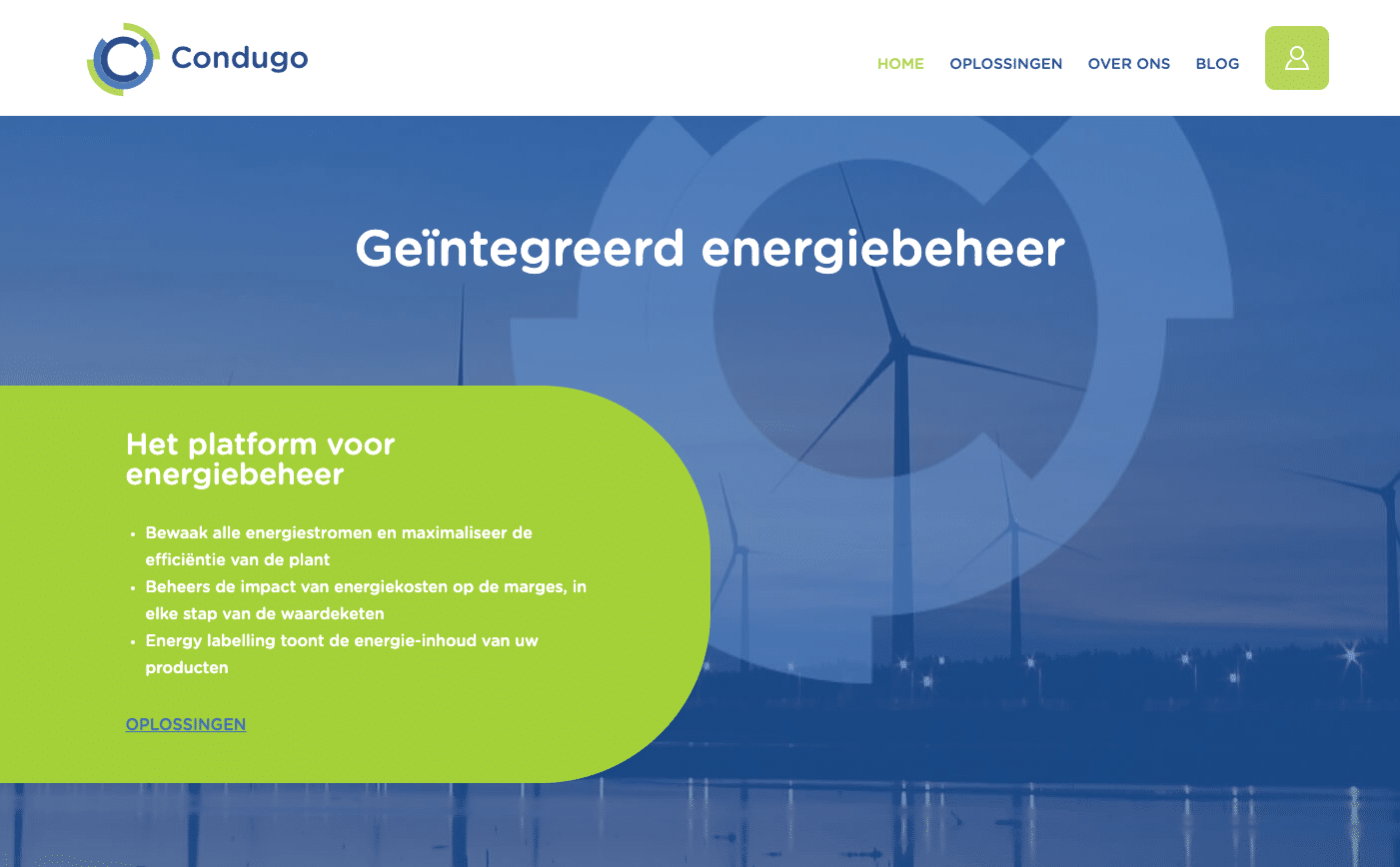 screenshot van website condugo